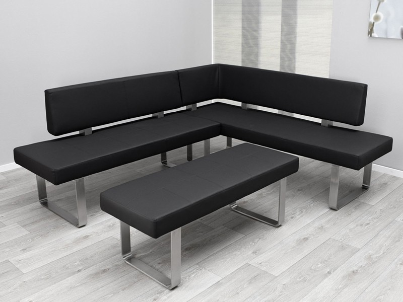 essecke eckbank modern edelstahl textilleder schwarz ebay. Black Bedroom Furniture Sets. Home Design Ideas