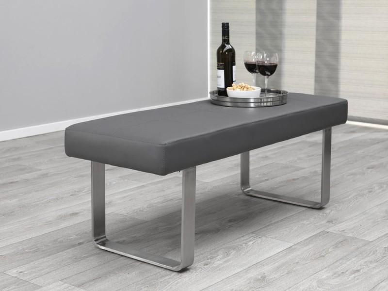 sitzbank modern grau gepolstert edelstahl sonderpreis ebay. Black Bedroom Furniture Sets. Home Design Ideas