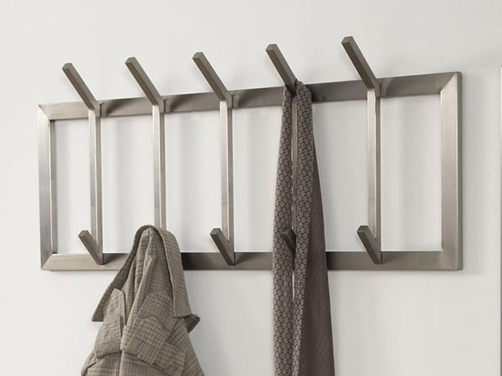 wandgarderobe edelstahl flurgarderobe 5 haken matt. Black Bedroom Furniture Sets. Home Design Ideas