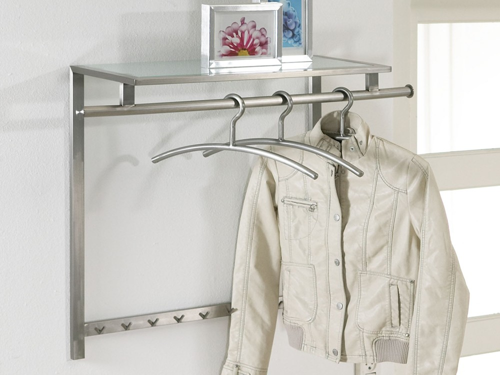 wandgarderobe 90x70 edelstahl matt glasablage sale. Black Bedroom Furniture Sets. Home Design Ideas