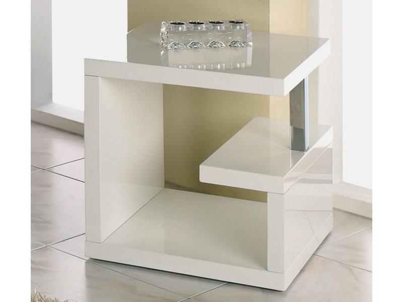 beistelltisch hochglanz wei design quadratisch 49x49x49. Black Bedroom Furniture Sets. Home Design Ideas