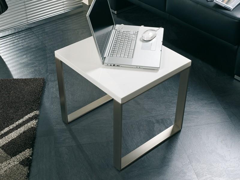 beistelltisch 45x45 edelstahloptik tischplatte wei. Black Bedroom Furniture Sets. Home Design Ideas