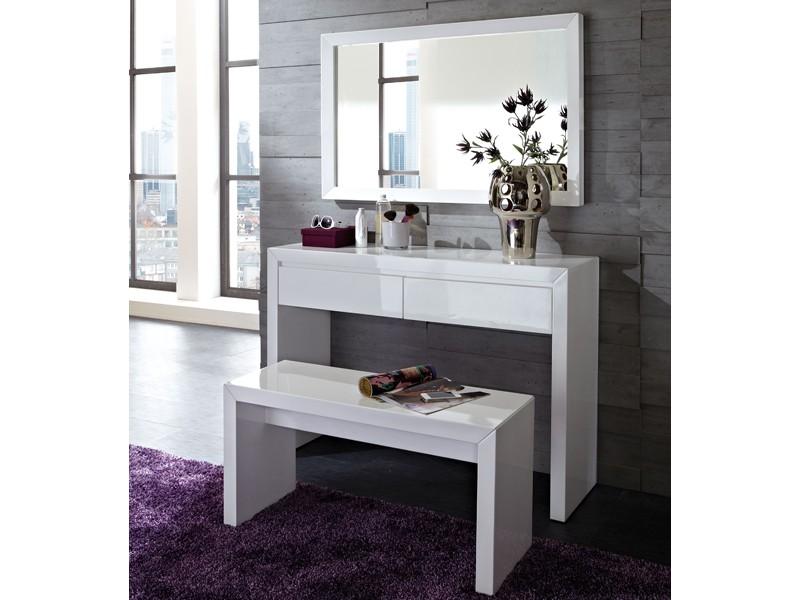 Konsole schminktisch bank und spiegel set 3 teilig hochglanz wei ebay - Schminktisch hochglanz weiay ...