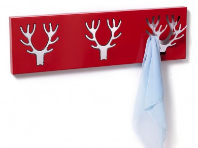wandgarderobe 3er hirsch elch geweih metall rot. Black Bedroom Furniture Sets. Home Design Ideas