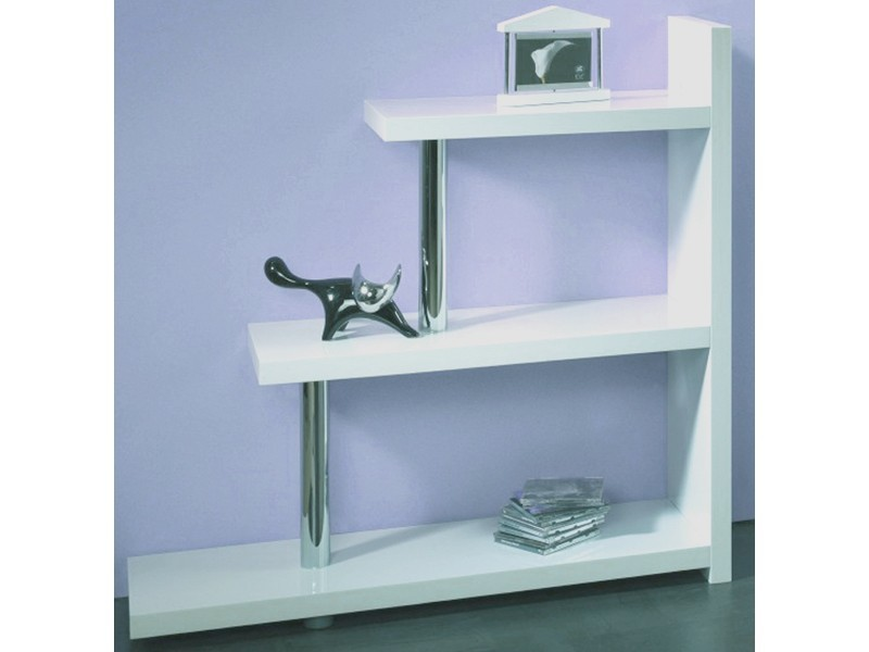 stufenregal raumteiler wandregal 100x98 hochglanz wei chrom. Black Bedroom Furniture Sets. Home Design Ideas