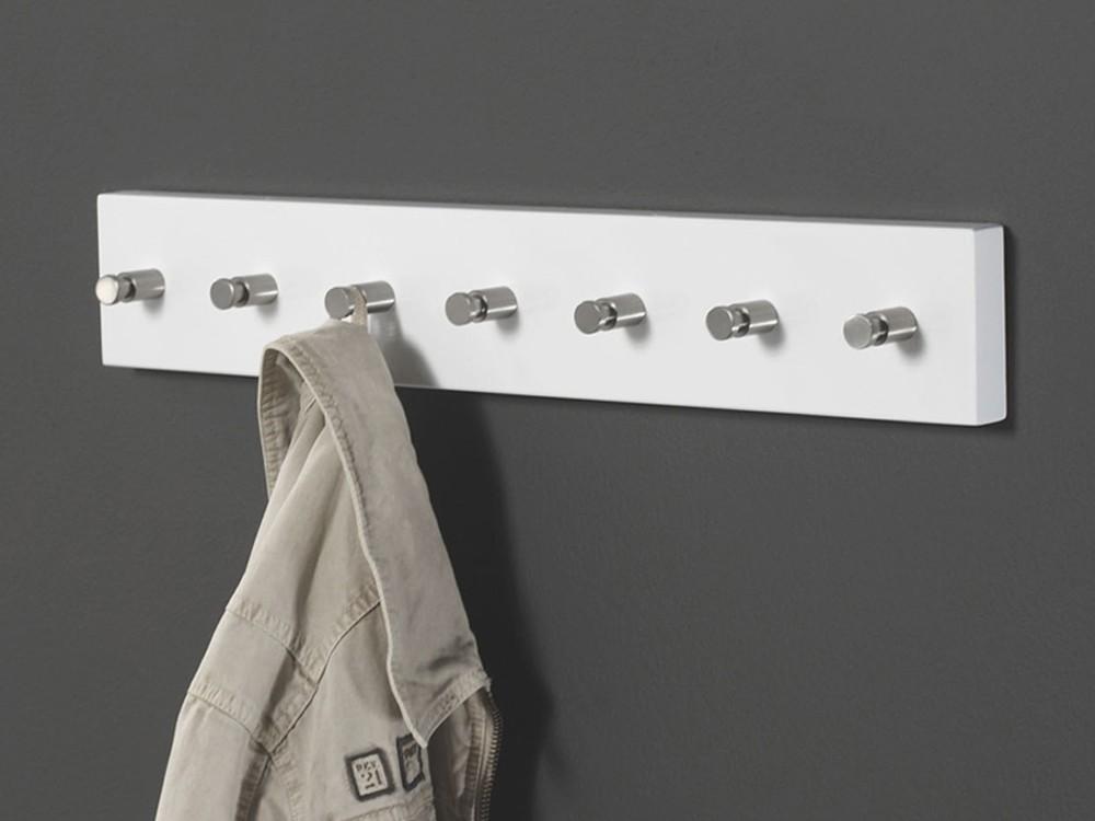 Beton Hochglanz Lackieren : Garderobenleiste Hakenleiste wei? Lack Edelstahl 7 Haken 60 cm 001