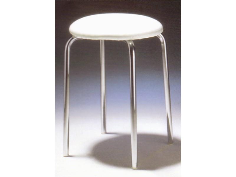 k chenhocker hocker verchromt sitz wei gepolstert. Black Bedroom Furniture Sets. Home Design Ideas