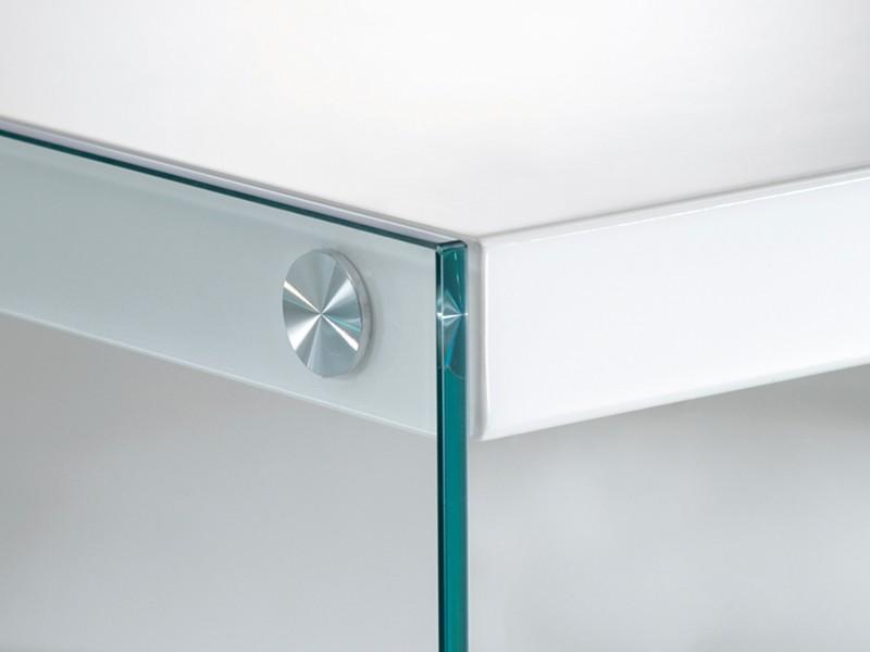 beistelltisch glas tischplatte 55x48 wei hochglanz. Black Bedroom Furniture Sets. Home Design Ideas