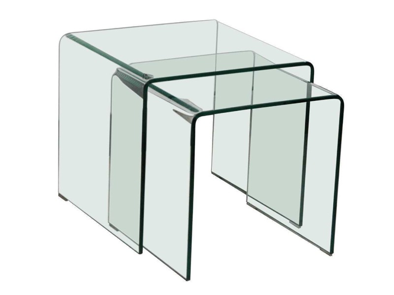Satztisch glastisch 2er set quadratisch esg sicherheitsglas for Beistelltisch glas eckig