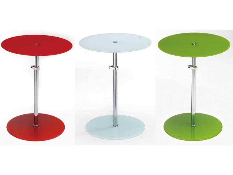 glastisch beistelltisch h henverstellbar rund klarglas. Black Bedroom Furniture Sets. Home Design Ideas