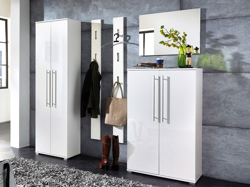 schuhschrank garderobenschrank wei gl nzend. Black Bedroom Furniture Sets. Home Design Ideas