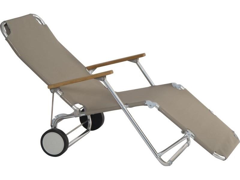mobile sonnenliege alu sonnenstuhl relaxliege armlehnen trolley taupe, Garten und bauen