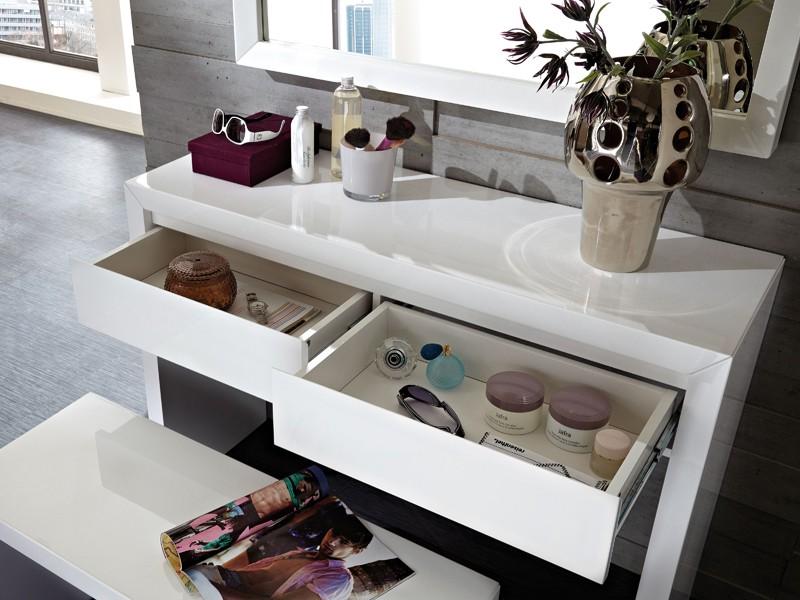 toilettentisch schminktisch mit sitzbank hochglanz wei. Black Bedroom Furniture Sets. Home Design Ideas