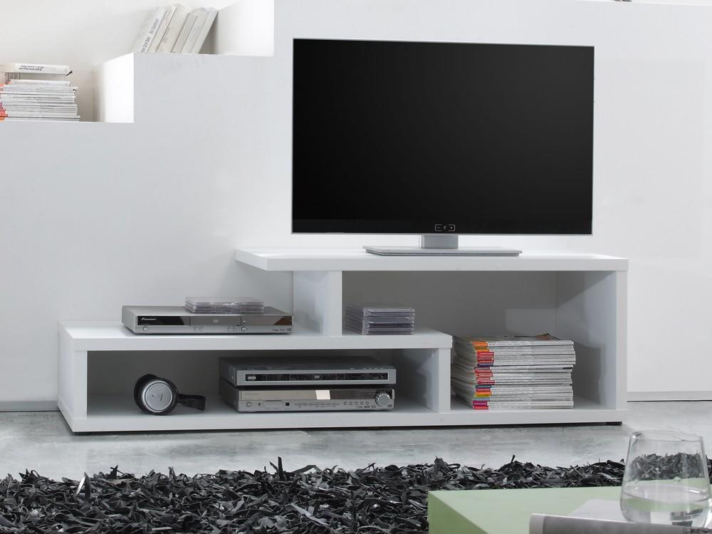 couchtisch fernsehregal 180x44x46 mit f chern wei matt. Black Bedroom Furniture Sets. Home Design Ideas