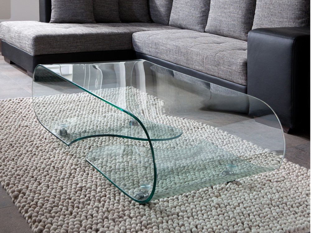 glastisch couchtisch auf rollen, länge 90 cm, glasdesign, Wohnzimmer