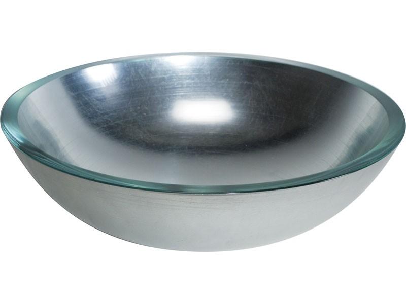 Glaswaschbecken Aufsatzbecken Lineabeta silber rund 42 cm | {Waschbecken rund glas 40}